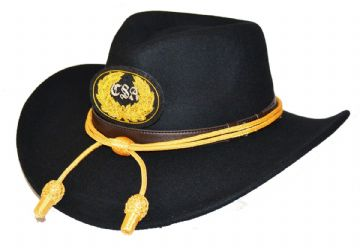 Confederate Black Slouch Hat Gold Cord & CSA Badge